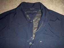 Mens NWOT TOMMY HILFIGER Full-Zip & Button Rain Jacket XL BLUE w/TH Logo