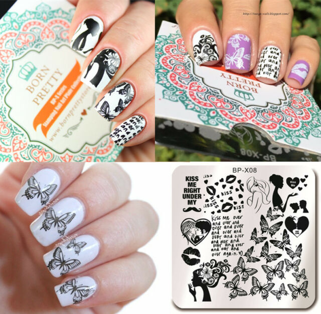 6*6cm Butterfly Nail Art Stamping Plates Template Nail Image Plate DIY BP-X08