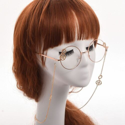 Vintage Steampunk Gear Glasses Chain Goth Unisex Retro Glasses Cosplay Props