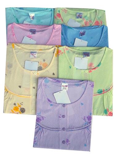 Damen Nachthemd mit  4 Knöpfleiste  für Übergröße 4XL Kurzarm 5Xl
