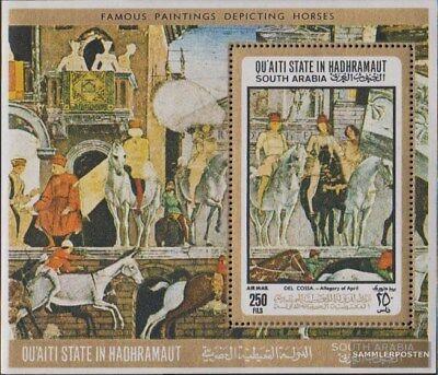 Aden - Qu´aiti Stato Block 19a (completa Edizione) Mnh 1967 Cavalli-dipinti