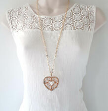 "Stunning 30"" long GOLD tone & filigree heart & diamante pendant chain necklace"