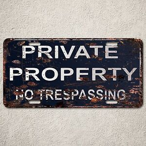LP0094-Private-Property-Sign-Auto-License-Plate-Rust-Vintage-Home-Store-Decor
