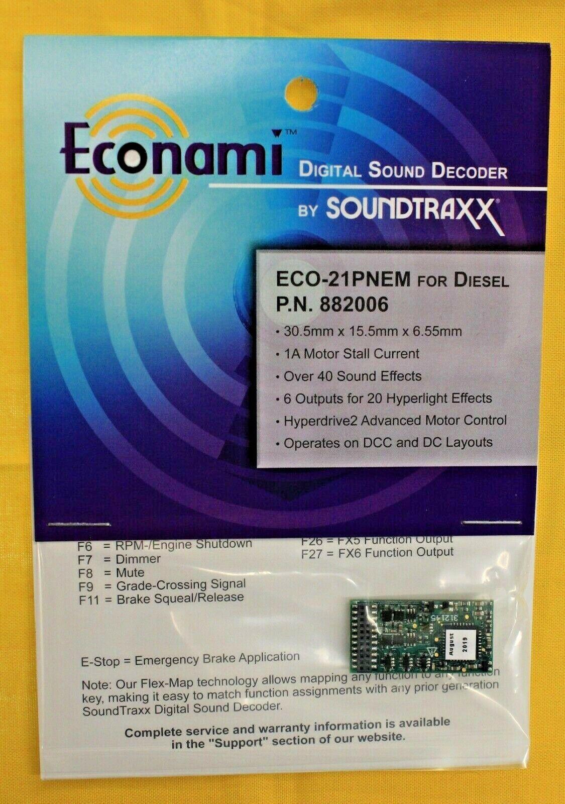 suonotraxx 882006 Digital suono Decodificatore ECO 21 pnem per DieselDC & DCC Layout