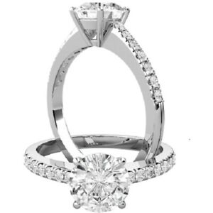 0.75 Ct Round Cut Moissanite Anniversary Ring 14K Solid White Gold ring Size 5 6