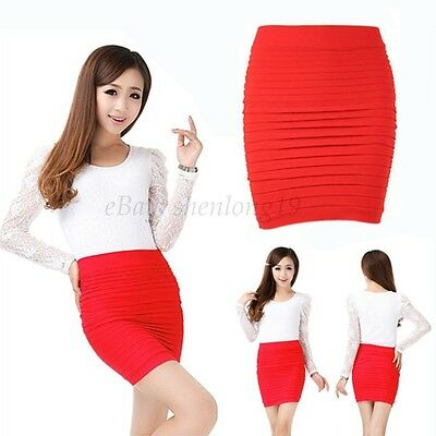 Sexy Women A-Line Mini Skirt Pleated Seamless Stretch Tight Fitted Bodycon Dress