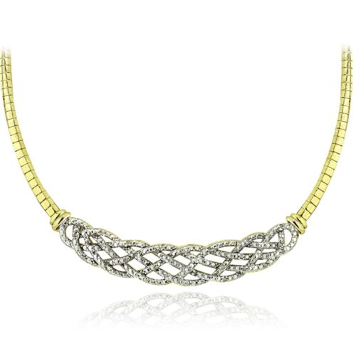 Gold Tone 1//4 Ct Diamond Weave Frontal Necklace
