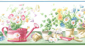 Country Gardening Flowers Potted Plants Watering Cans 6 Wallpaper Border Wall 623467155917 Ebay
