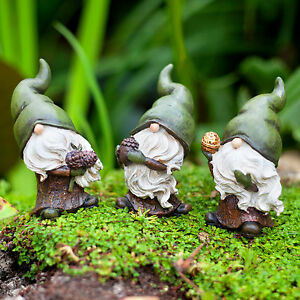 Garden-Gnome-Birch-Flint-amp-Forest-the-Seed-Collecting-Ornament-Figurine-Trio