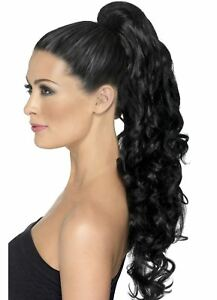 Smiffy-039-s-Ladies-Divinity-Synthetic-False-Hair-Extentions-Curly-Clip-on-Black