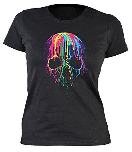 Totenkopf Damenshirt bunter Totenkopf Skull Neon Skull Damen T-Shirt Gotik