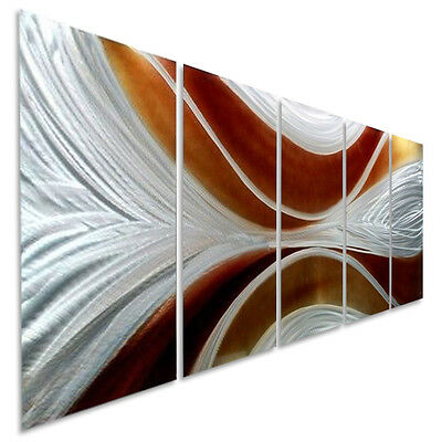 Silver/Brown Abstract Metal Wall Art Painting - Contemporary Decor by Jon Allen