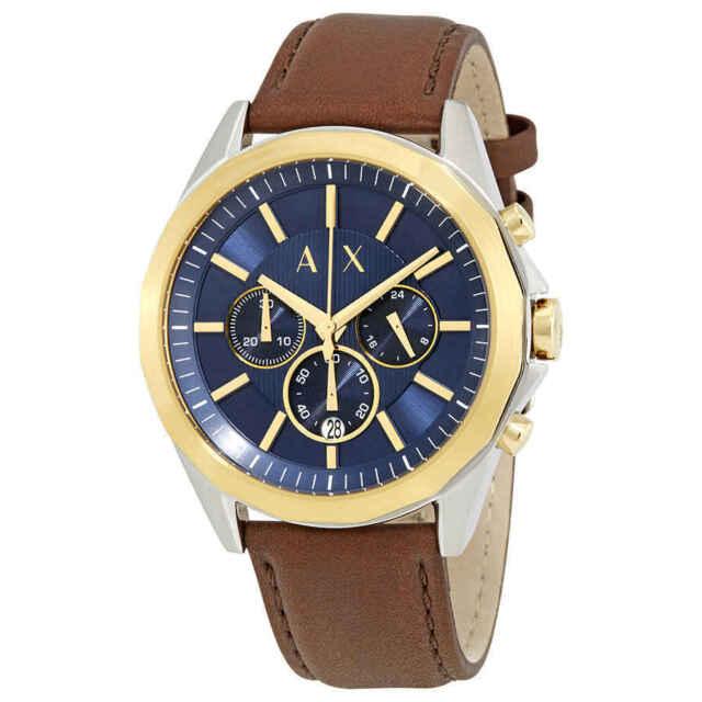1c5f9130dd82 Armani Exchange Drexler Chronograph Blue Dial Gold Tone Men s Watch ...