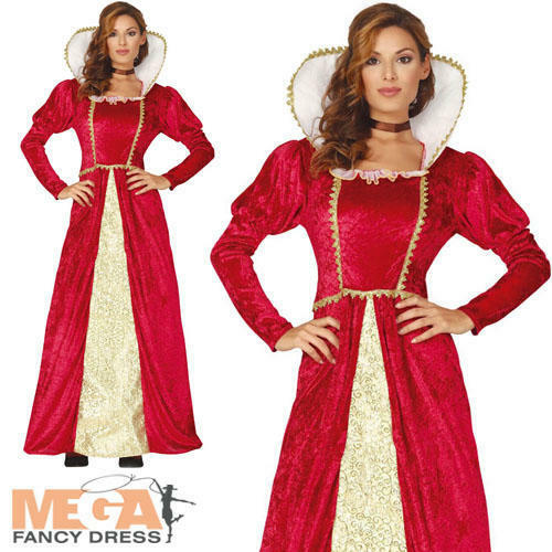 Queen Ladies Fancy Dress Medieval Renaissance Adults Book Day Costume Outfit