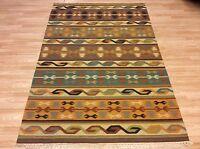Handwoven Antique Look Tribal Kilim Rust Brown 100% Wool Rug Xl 202x242cm 50%off