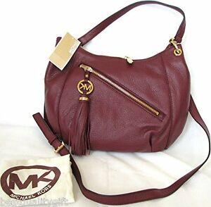 36d38aae9614 Image is loading NEW-MICHAEL-KORS-CHARM-TASSEL-CINNABAR-LEATHER-CROSSBODY-