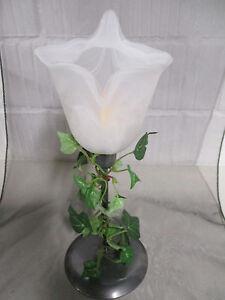 Deko Metall Kerzenstander Teelichthalter Glaseinsatz Weiss Calla Efeu