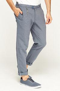 bd24ec419f7 Men ZARA Pants Dark Grey-Blue Long Tailored Striped Cotton Casual ...