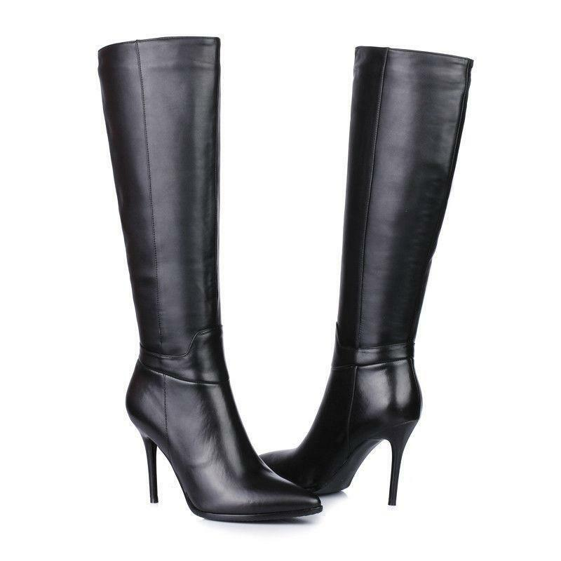 womens shoes black high heel stilettos size zip pointy toe knee high boots size