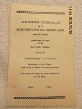 1954 Program Centennial Celebration Alumni of Central High School Evansville IN