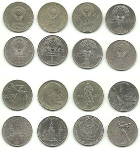 Russia-Soviet-Union-8-x-1-Rouble-1965-1985-8-different-type-coins