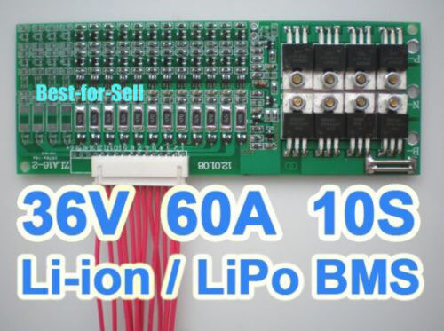 10S 60A 36V 37V 42V Li-ion ion LiPo Li-Polymer 18650 Battery BMS PCB w// Balance