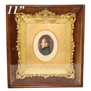 Fab-Antique-Victorian-Shadow-Box-11-25-034-Picture-Frame-Gilt-Gesso-Portrait-Mini