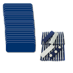 "50 BLANK 1 X 3 BLUE / WHITE NAME BADGE KIT (U) TAGS 1/4"" CORNERS MAGNETS LABELS"