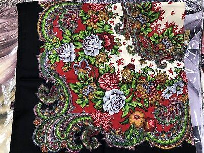 Russian Shawl with Fringe 100x100 cm Pavlovo Posad shawl Scarf