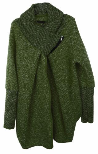Womens Italian Lagenlook Layered Chenille Feel Wool Zip Collar Cocoon Coatigan
