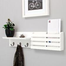 White Sydney Nexxt Wall Shelf + Mail Holder! Drop Zone Hooks Entryway Coat Rack