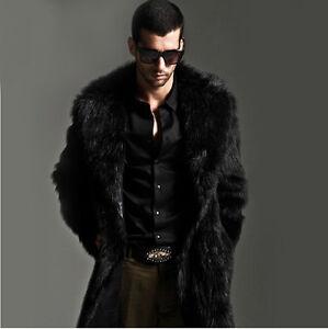 713144b0999efc Luxury Black Faux Fur Coat Men Outerwear Warm Long Jacket Winter ...