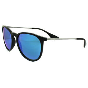 d190a57f9f Ray-Ban Sunglasses Erika 4171 601 55 Black   Gunmetal Blue Mirror ...