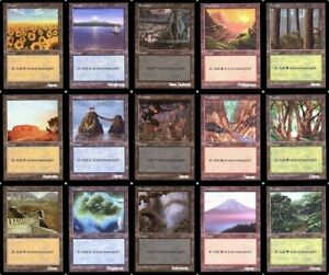 Lot-de-15-terrains-de-base-APAC-3-Packs-Basic-Lands-Magic-mtg-Complete-set