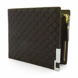 Mens-Luxury-Soft-Quality-Leather-Wallet-Credit-Card-Holder-Purse-Brown-with-Zip