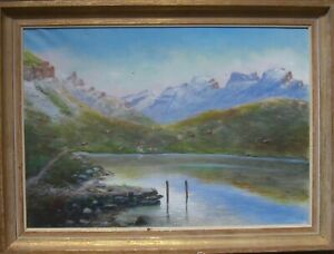:: Oil Painting ° Landscape Mountains Mountains Mountain Lake Alps ° Impressionism Monogr. A.R