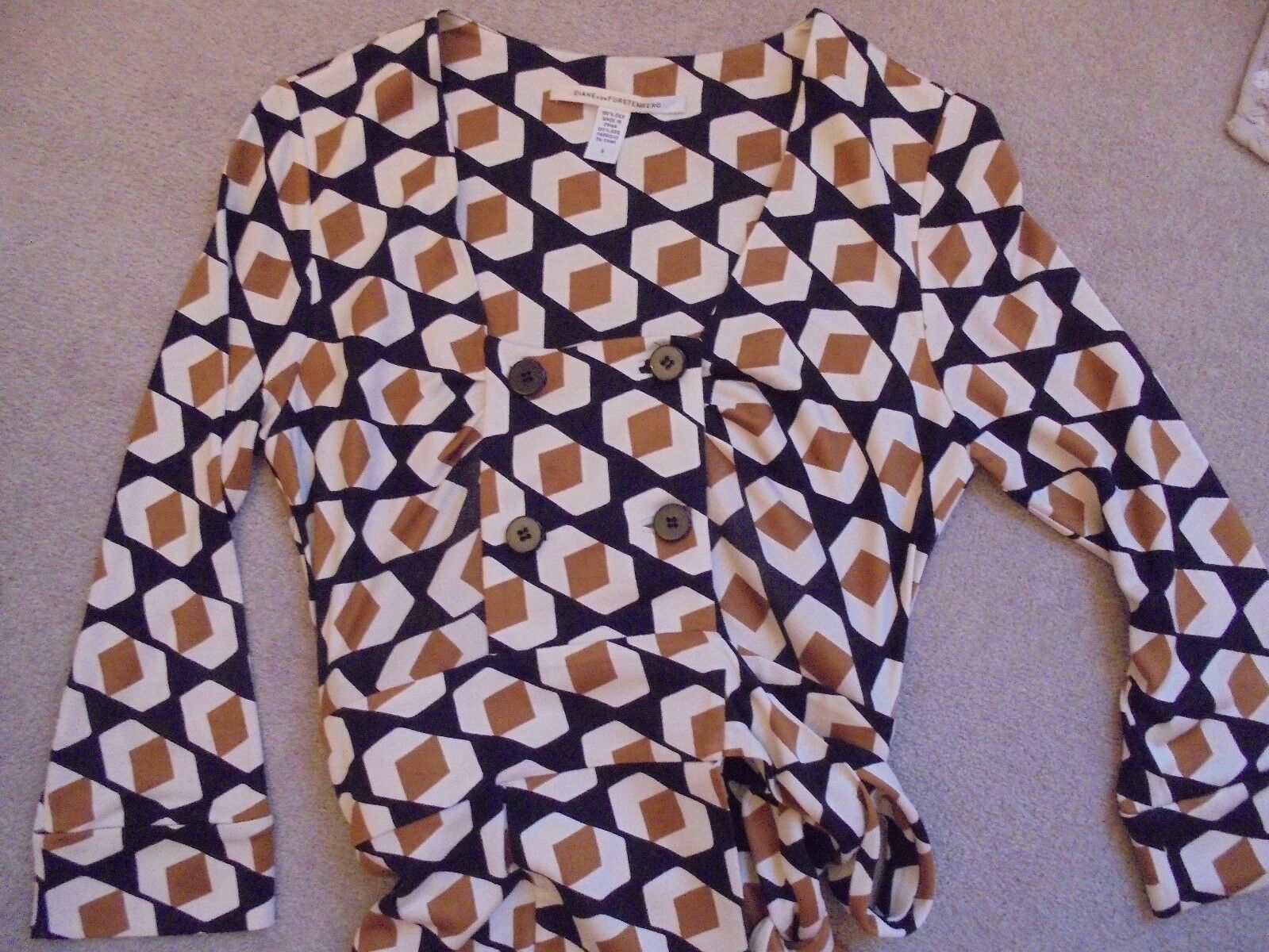 DIANE VON VON VON FURSTENBERG MOST STUNNING RETRO PRINT SILK WRAP DRESS 992ffa