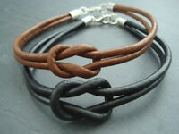"""Infinity knot 3mm leather cord bracelet in black or brown - 7"""" 8"""" 9"""""""