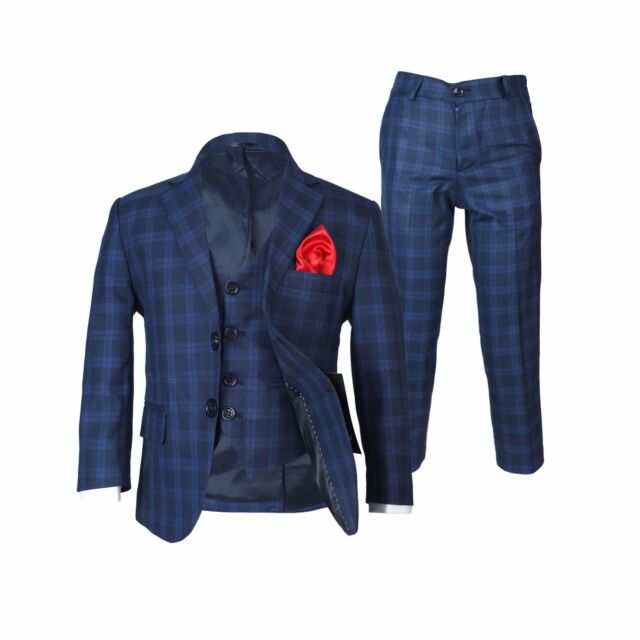 8a3e7aed6d09 Boys Checkered Navy Suits Page Boy Blue Check Suit Kids Wedding ...