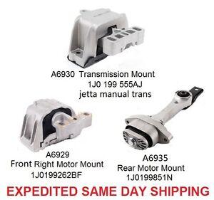 motor transmission mount set kit 3pcs for 98 06 vw beetle. Black Bedroom Furniture Sets. Home Design Ideas