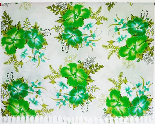 Pareo Wickeltuch Tuch Strandkleid Blumen weiß grün hellgrün türkis NEU Sarong