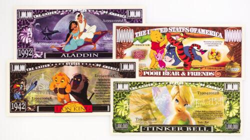 4er Set Verschiedene Disney Fantasy Geldscheine