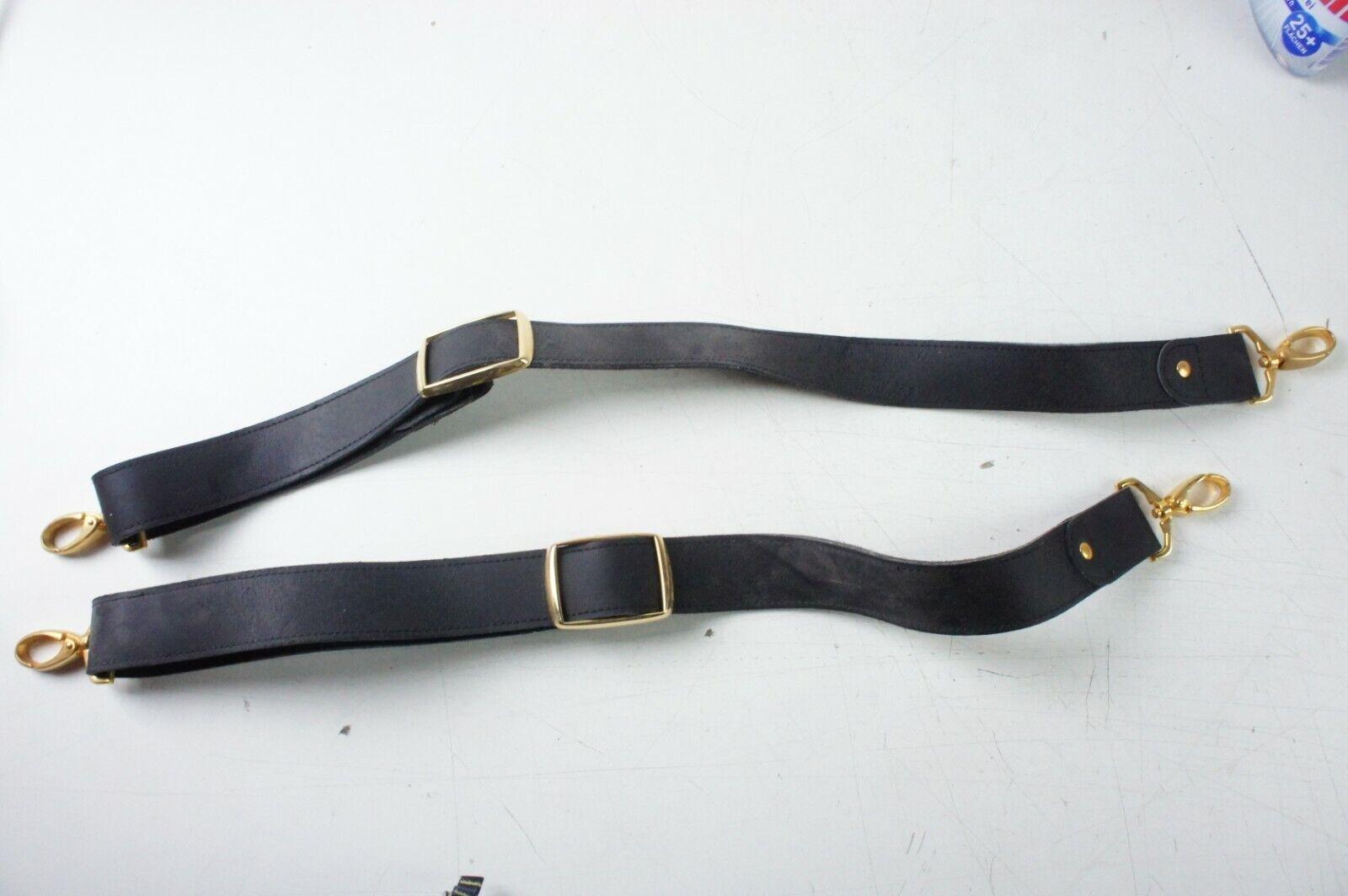 2 Lederbänder Riemen mit Schnallen Verschlüssen Goldfarbig Umhängeriemen Z-2051