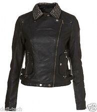 Topshop Black Stud Collar Faux Leather PU Biker Motorcycle Jacket 10 38 US6 S M