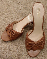 "FRANCO SARTO Womens 'L-BATTLE' Brown Woven Leather Sandal Slides 3"" Heel Size 9M"