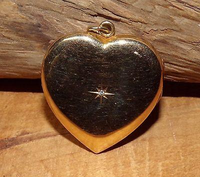 B & N Art Nouveau 10K Solid Yellow GOLD Heart LOCKET Cent Starburst Diamond 6.4g