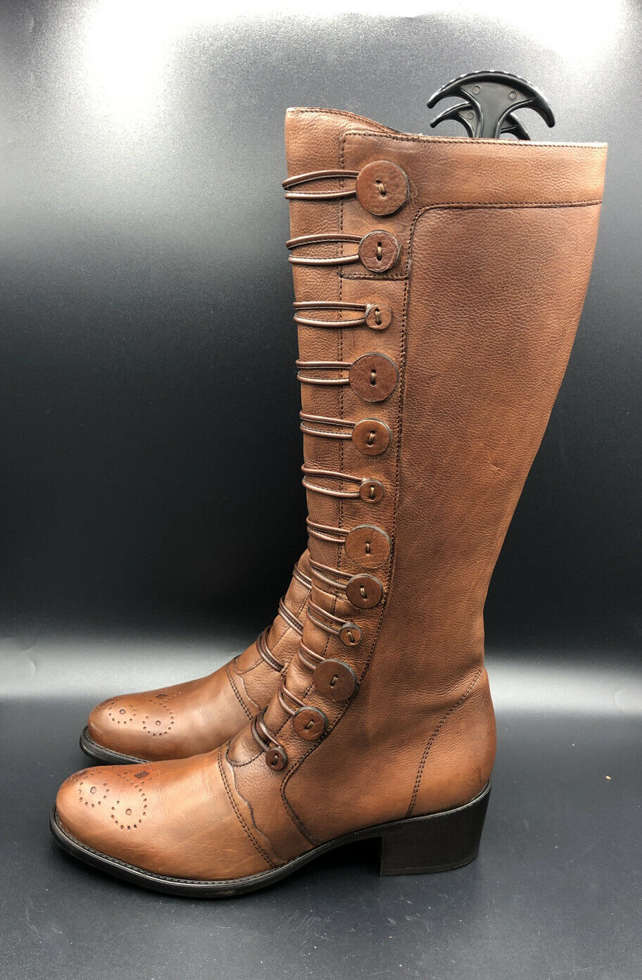 DUNE Pixie D Button Detail Knee High Heel Shoe Brown Tan Leather Boot Size 6 39