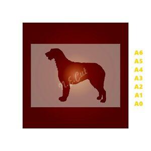 WOLF-HOUND-Dog-Stencil-350-micron-Mylar-not-Hobby-stuff-DOGS120