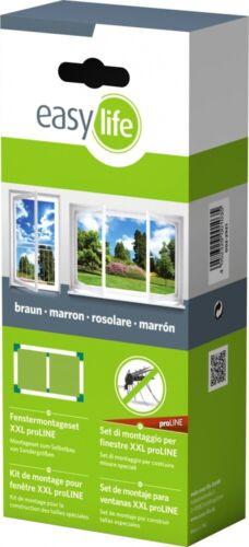 EasyLife Moustiquaire pour fenêtre-Kit Montage XXL Proline Marron