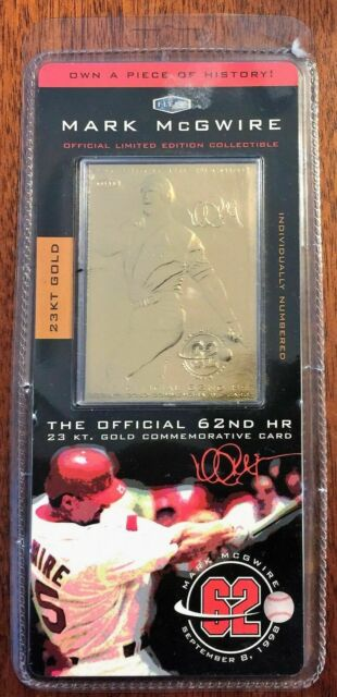 1998 Fleer 23 Kt Gold Mark Mcgwire 62nd Home Run Mlb Baseball Card
